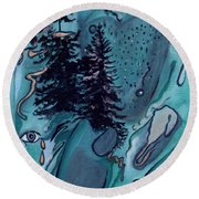 Rocksntrees Abstract Round Beach Towel