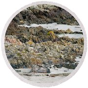 Rocky And Sandy Beach Round Beach Towel