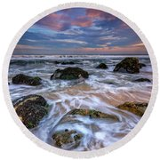 Rocky Beach At Sandy Hook Round Beach Towel