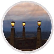 Rocky Butte Lamps Round Beach Towel