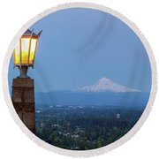 Rocky Butte Viewpoint With Mount Hood During Evening Blue Hour Round Beach Towel