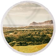 Rocky Capes And Rugged Coasts Round Beach Towel
