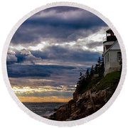 Rocky Cliffs Below Maine Lighthouse Round Beach Towel
