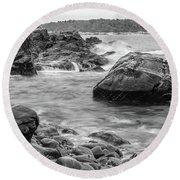 Rocky Coast Of Maine In Bw Round Beach Towel by Doug Camara