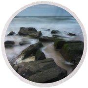 Rocky Coast Of New Jersey Round Beach Towel