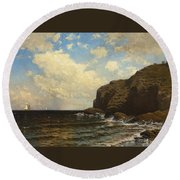 Rocky Coast With Breaking Wave Round Beach Towel