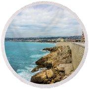 Rocky Coastline In Nice, France Round Beach Towel