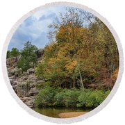 Rocky Falls In The Fall Round Beach Towel