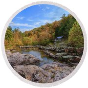 Rocky Falls Near Klepzig Mill Round Beach Towel