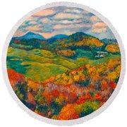 Rocky Knob In Fall Round Beach Towel