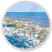 Rocky Lake Superior Shoreline Near North Country Trail In Pictured Rocks National Lakeshore-michigan Round Beach Towel