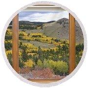 Rocky Mountain Autumn Picture Window View Round Beach Towel