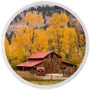 Rocky Mountain Autumn Ranch Landscape Round Beach Towel
