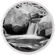 Rocky Mountain Canyon Waterfall In Black And White Round Beach Towel