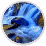 Rocky Mountain Cascade Round Beach Towel