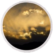 Rocky Mountain Continental Divide Sunset Round Beach Towel