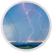 Rocky Mountain Front Range Foothills Lightning Strikes 1 Round Beach Towel