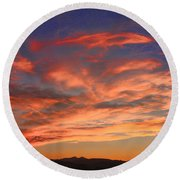 Rocky Mountain Front Range Sunset Round Beach Towel