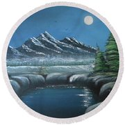 Rocky Mountain Fullmoon Round Beach Towel