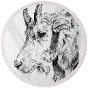 Rocky Mountain Goat Round Beach Towel