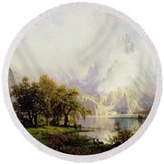 Rocky Mountain Landscape Round Beach Towel