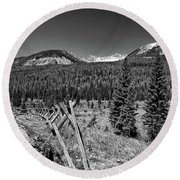 Rocky Mountain National Park Black And White Round Beach Towel