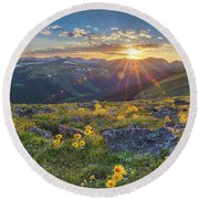 Rocky Mountain National Park Summer Sunflowers Pano 1 Round Beach Towel