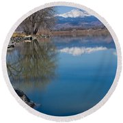 Rocky Mountain Reflections Round Beach Towel