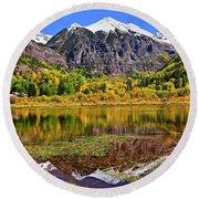 Rocky Mountain Reflections - Telluride - Colorado Round Beach Towel