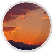 Rocky Mountain Religious Sunset Round Beach Towel