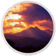 Rocky Mountain Sunset Round Beach Towel