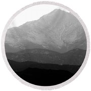 Rocky Mountain Twin Peaks Bw Round Beach Towel