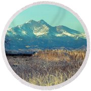 Rocky Mountain Twin Peaks Wood Fence View Round Beach Towel