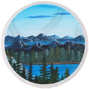 Rocky Mountain View Round Beach Towel