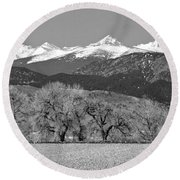 Rocky Mountain View Bw Round Beach Towel