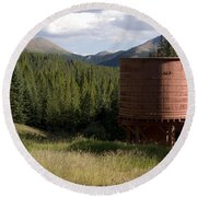 Rocky Mountain Water Tower Round Beach Towel