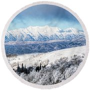 Rocky Mountain Winter Round Beach Towel