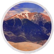 Rocky Mountains And Sand Dunes Round Beach Towel