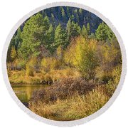Rocky Mountains Autumn Round Beach Towel