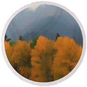 Rocky Mountains Colorado Autumn  Round Beach Towel