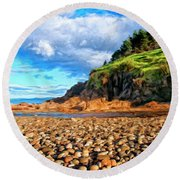 Rocky Oregon Beach Round Beach Towel