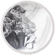 Rocky Outcrop In Snowdonia. Round Beach Towel