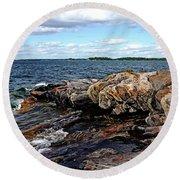 Rocky Point - Wreck Island Round Beach Towel