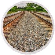 Rocky Railroad Rails Round Beach Towel