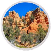 Rocky Range At Red Canyon Round Beach Towel
