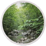 Rocky River In Green Round Beach Towel