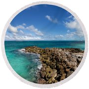 Rocky Shoreline On The Beach At Atlantis Resort Round Beach Towel
