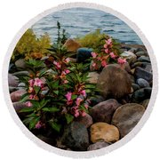 Rocky Shores Of Lake St. Clair- Michigan Round Beach Towel