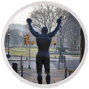 Rocky Statue From The Back Round Beach Towel