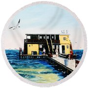 Rod And Reel Fishing Pier Round Beach Towel